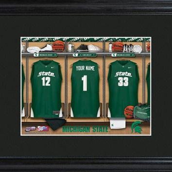 Michigan State Spartans College Basketball Locker Room Print