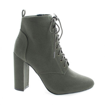 Eminent Green F-Suede by Delicious, Almond Toe Lace Up High Heel Ankle Boots