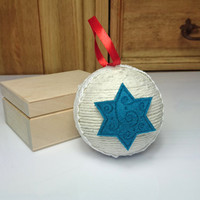 White and turquoise blue christmas tree ornament cotton cord felt stars lace decoration natural rustic decor red satin ribbon cozy cottage