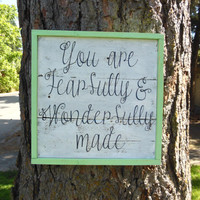 """Joyful Island Creations """"you are fearfully and wonderfully made"""" wood sign/ mint framed wood sign/ shabby chic sign"""
