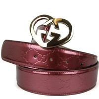 Gucci Women's Pink Patent Leather Heart Shaped GG Buckle Belt