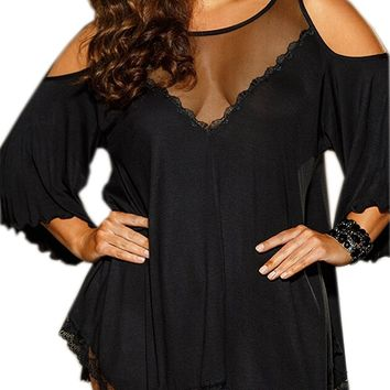 Women Plus Size Babydoll Jersey Knit Camisole Dress Lace Trim Lingerie
