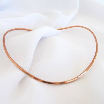 Square Copper Neck Wire, hammered copper pendant slide, hand crafted copper choker