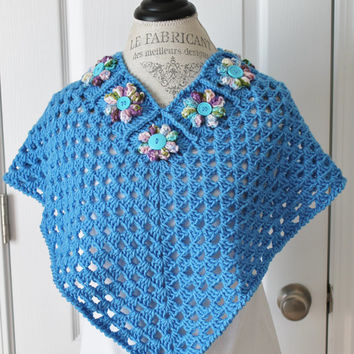 Crochet Shawl / Poncho Granny Square- Blue With Flowers- Child 8 - 12 years