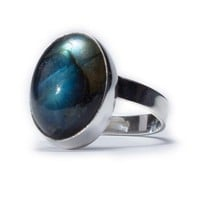 Labradorite Ring - Labradorite Gemstone with 925 Sterling Silver (Adjustable)