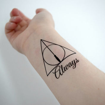 Temporary Tattoo - Geekery, Harry Potter, Fandom, Wand, Quote