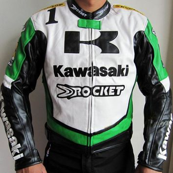 Japan Kawasaki motorcycle jackets in 2 colors white green black men's motorbike racing jackets protection PU leather M-2XL J9