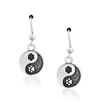 Sterling Silver Earrings:  Yin And Yang Dog Paw Print Dangle Earrings