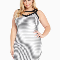 Textured Striped Bodycon Dress