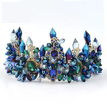 Oversize Blue Baroque Royal Crown Headpiece Retro Green Beaded Crystal Rhinestone Tiara