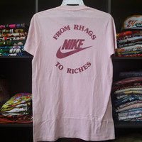 RARE Vintage 70s 80s Nike Rhagwan From Rhags To Riches t shirt nikeman fly hike waffle pinwheel era