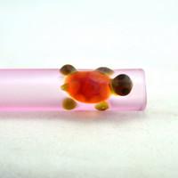 PINK Colored Sandblasted Turtle pipe chillum hitter