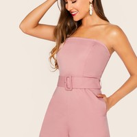 Slant Pocket Buckle Belted Tube Playsuit