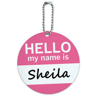 Sheila Hello My Name Is Round ID Card Luggage Tag