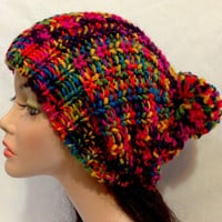 Knitted Winter Hat. Colorful knitted Hat. College Trends Hat.