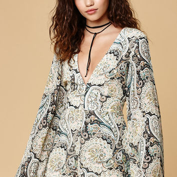 Wyldr Lead The Way Long Bell Sleeve Romper at PacSun.com