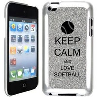 Silver Apple iPod Touch 4th Glitter Bling Hard Case Cover GT255 Keep Calm and Love Softball