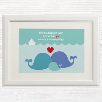 Baby Boy Wall Art Printable - Nursery Decor - Nursery Art - Whale Family - First we had eachother then we had you now we have everything