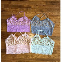 Floral Lace Bralette Tops, Four Colors