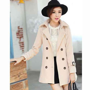 Women's Slim Fit Solid Color Detachable Cape Double-breasted Worsted Coat