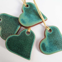 Christmas Turquoise Green Heart Ceramic Ornament Gift Tag Winter