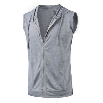 2017 Fashion Summer Mens Sleeveless Zipper Vest Jacket Casual Zip Up Hoodie Hooded Sweatshirt Tank Tops Outwear