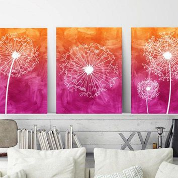 DANDELION Wall Art, Watercolor Ombre Pictures, Hot Pink Orange, Watercolor CANVAS or Print, Dandelion Bathroom Decor, Dorm Room, Set of 3