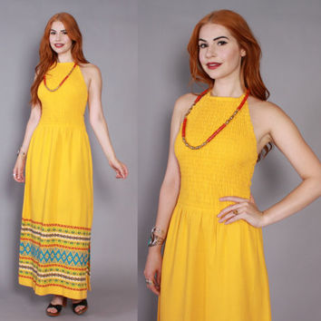 70s GUATEMALAN Embroidered Sun DRESS / 1970s Gold Cotton Bohemian Smocked Halter Dress