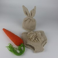 Newborn Photography Props Bunny Crochet Knitting Costume Set Rabbit Hats and Diaper Beanies and Pants Newborn Outfits Accessory