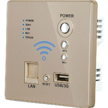 Gold Color Usb Charging Wall Socket PanelWall Embedded Wireless Ap Router Usb Socket 3G Wifi Socket 110-250V