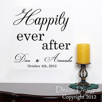 Happily Ever After Wedding Quote Vinyl Wall Decal Sticker