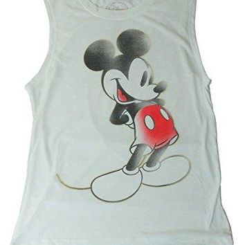 Disney Mickey Mouse Tee Junior Girls Fashion Top T Shirt Muscle Tank Touch White