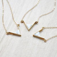 Triangle Howlite Necklace, Gold Necklace, Layering Necklace, Everyday necklace