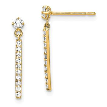 14k Yellow Gold Cubic Zirconia Bar Dangle Post Earrings
