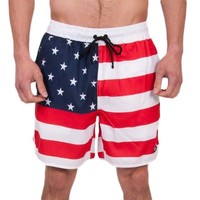Old Glories Swim Trunks in Red, White, and Blue by Rowdy Gentleman