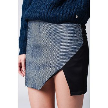Mini Skirt With Wrap Front in blue