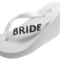 Bride Flip Flops Bridal Bling Ivory White 3.5 inch Glitter Wedge Womens Wedding Platform Satin Flip Flops