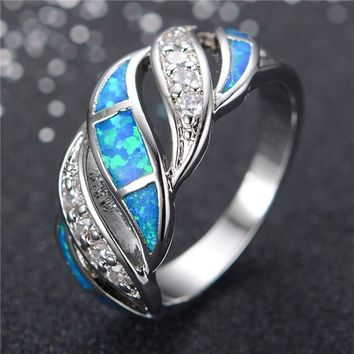 Rongxing Fashion 925 Sterling Silver Blue Fire Opal CZ Wedding Ring Accessories Gifts
