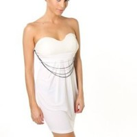 Sexy Clubwear Dress Lace Detail Strapless Tube Mini W/ Chain Embellishment