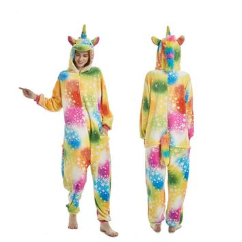 Onesuit Winter Adult Unisex Pajamas Cartoon Animal Halloween Cosplay Costume Hooded Sleepwear Unicorn Panda Stitch Onesuits