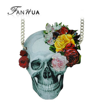 Gothic Statement  Skull Necklace With Flower Wood Material Steampunk Pendant Necklace Women Men Jewelry  Masculine Necklace