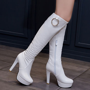Metal Circle Platform High Heel Tall Boots 9201