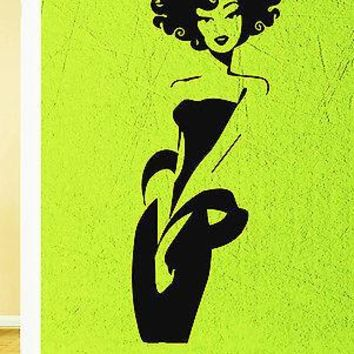 Wall Vinyl Sticker Decal Sexy Afro Girl Beautiful Black Chick Salon Spa Unique Gift (z603)