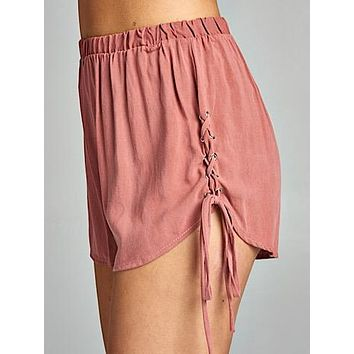 Cross Tied Shorts | Coral