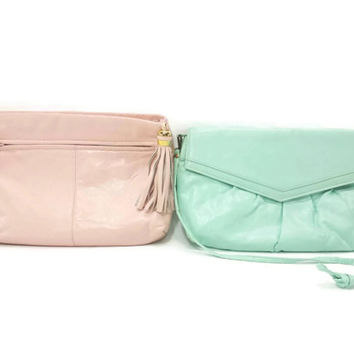 Vintage Purses, Mint Green, Pink, Shoulder Bag, Clutch, Faux Leather Pleather, 90's Fashion, 80's Style, Distressed, Worn
