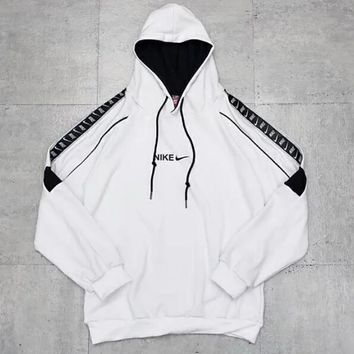 NIKE New Fashionable Women Men Casual Print Long Sleeve Hoodie Sweater Pullover Top Sweatshirt White
