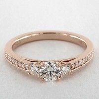 14K Rose Gold Princess Shape Trio Diamond Engagement Ring