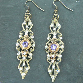 Purple Renaissance  earrings Renaissance festival medieval  boho hipster dancer victorian tribal fusion goddess regal halo hair jewelry