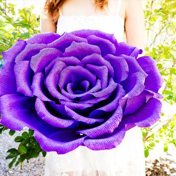 Handmade giant paper flower with or without stem, wedding bouquet, bridesmaid bouquet,  decoration, Summer, Spring, paper rose.
