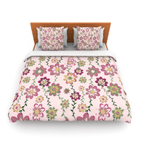 "Nika Martinez ""Romantic Flowers in Pink"" Blush Floral Lightweight Duvet Cover"